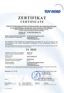 Zertifikat für interne Fertigungskontrolle