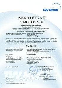Zertifikat nach Richtlinie 97-23EG