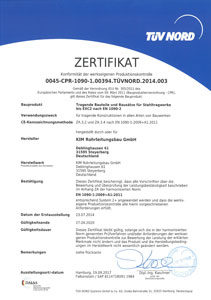 Zertifikat tragende Bauteile 2020